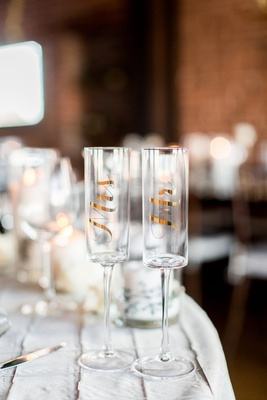 Gold foil champagne glass with mr and mrs gift ideas wedding engaged couples