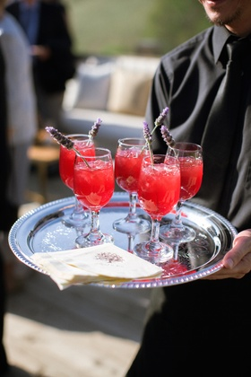 Custom cocktail napkins on silver platter
