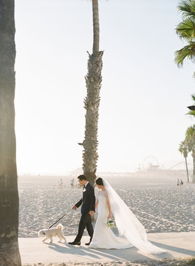 bride in pretty wedding dress sheer ceremony top veil groom with small dog walking on beach palms