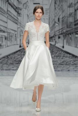 Justin Alexander Spring Summer 2017 v neck lace short sleeve bodice silk tea length skirt pockets