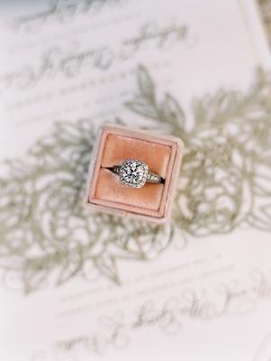 Wedding ring in The Mrs Box velvet engagement ring box halo setting sparkling diamond center stone