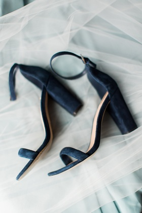 bridal shoes, something blue, navy blue suede sandals, ankle strap and big heels
