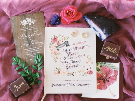 boho-chic destination wedding, wood invitation, water color guest book, geode
