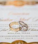 Groom polished gold wedding band and halo engagement ring