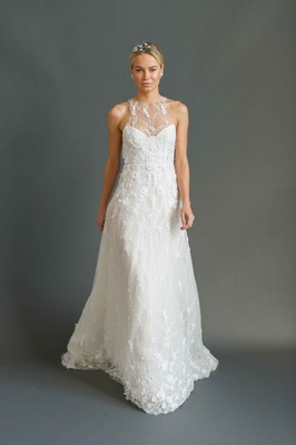 Sabrina Dahan 2016 racer front illusion neckline and embroidered tulle wedding dress