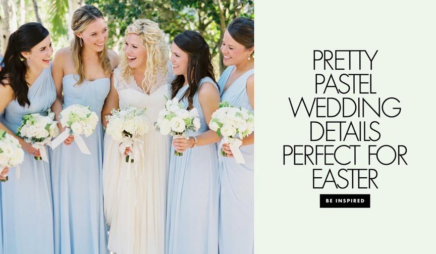 pastel wedding inspiration, pale blue bridesmaid dresses