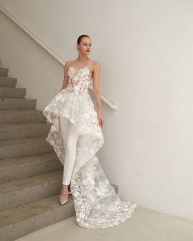 Francesca Miranda Spring 2019 collection tulle high low gown with skinny pants and illusion neckline