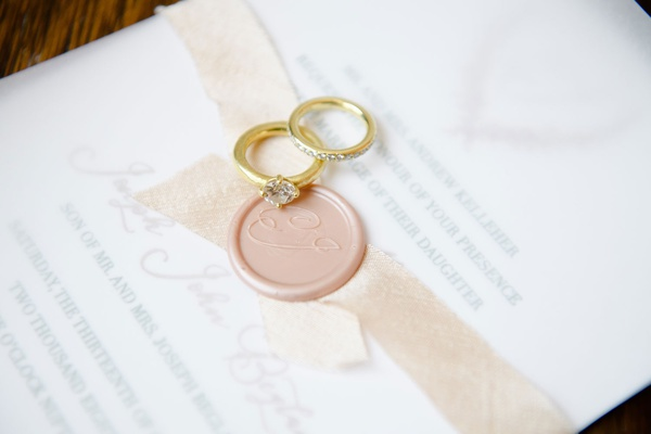 hammered gold engagement ring solitaire and wedding band invitation pink wax seal