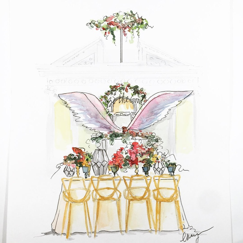 sketch drawing design of styled wedding shoot tablescape colorful wings mediterranean