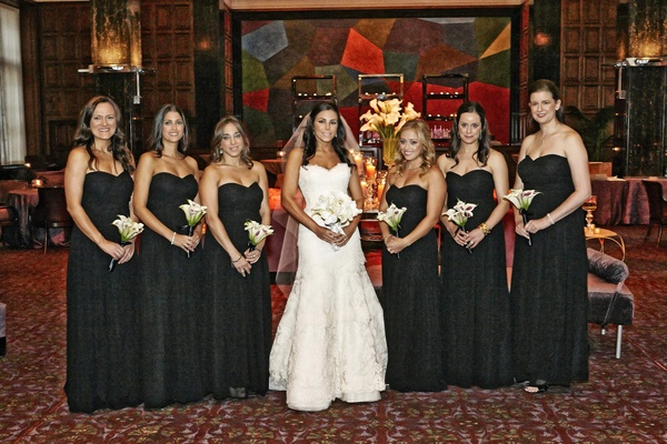 Chicago wedding bride with black bridesmaid dresses