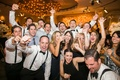 Wedding guests dancing, drinking, being merry at wedding reception in Beverly Hills Hotel