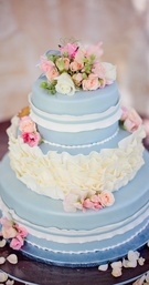 Something blue with white ruffles and fresh flowers
