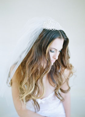 Suzanne Couture Millinery headpiece veil with beading at crown of head