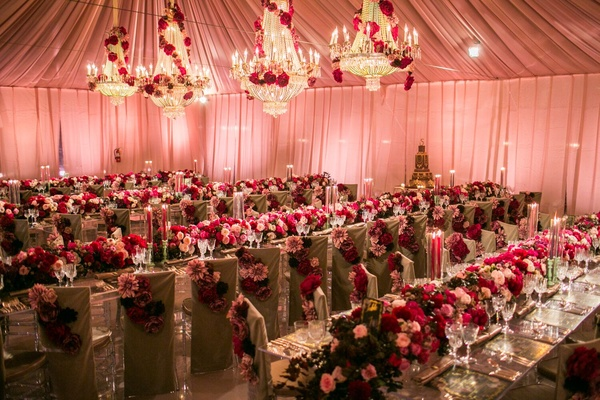 Floral Runners, Lucite Tables, Custom Chair Covers and Custom built chandeliers.