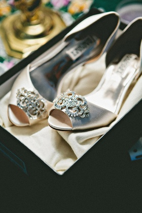 Badgley Mischka wedding shoes in taupe with jewel brooch
