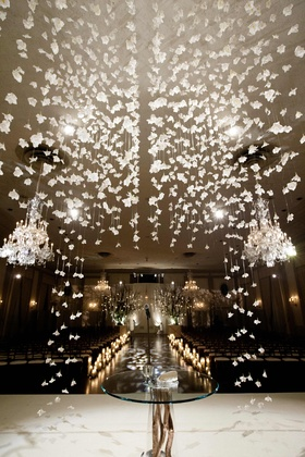 View from wedding canopy of chairs and ballroom