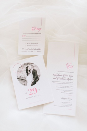 Save the date with engagement photo circle motif and invitation with pink lettering monogram