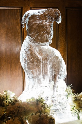 Wedding decor ice sculpture in shape of couple dog who couldn't attend wedding