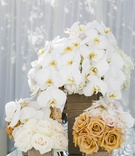 Square boxes filled with white and gold flowers