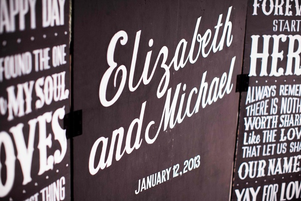 Wedding reception sign with names and love quotes