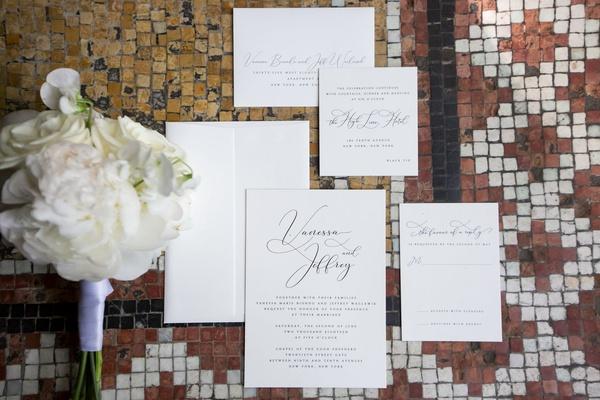 wedding invitation simple names information script white black grey