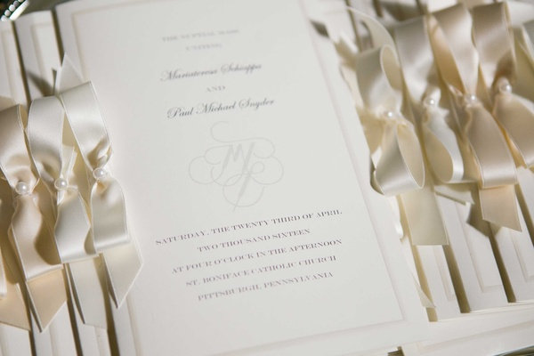 cream and ivory wedding invitations bows pearls ribbons pittsburgh roman catholic ceremony monogram