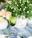 wedding event bridal shower glassware green goblet greenery centerpiece linen napkin menu card blue