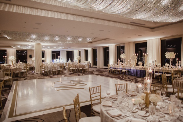 Wedding reception ballroom round tables head table around dance floor monogram gold border crystals
