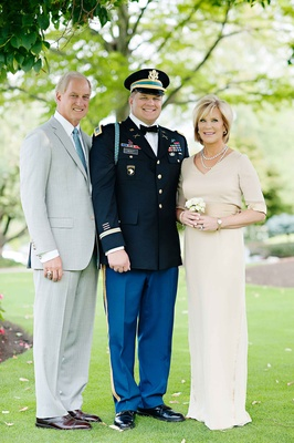 Mother of groom in Amy Kirchen light tan dress