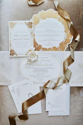wedding invitation suite gold rose flower motif design die cut invitation menu card and envelopes