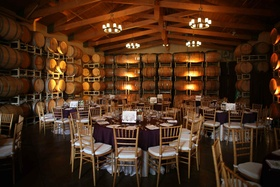 Simple wedding decorations in winery room