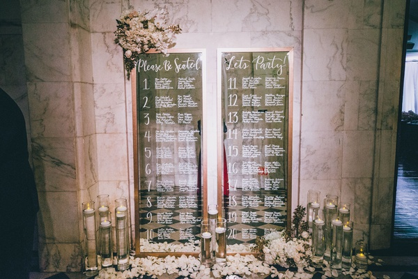 wedding reception seating chart mirror please be seated let's party table white floating candles