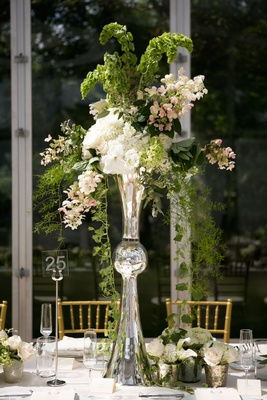 Silver Latour Trumpet Vase With Green Leaves And White Flowers