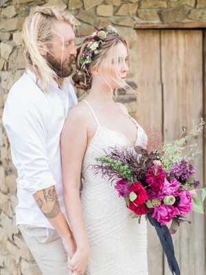 boho couple vibrant florals california chic wedding styled shoot flower crown tattoo beard