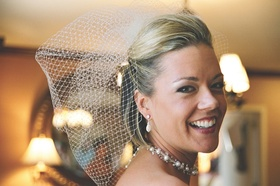 Bride wearing pearls and crystal choker