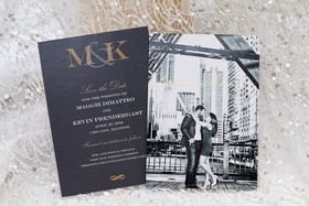 Black and white engagement photo on elegant save the date card for black tie wedding