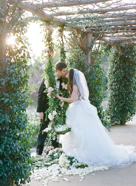 Adam Ottavino Colorado Rockies baseball pitcher with bride in Vera Wang dress at San Ysidro Ranch