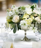 Silver mercury glass urn with white rose, white hydrangea