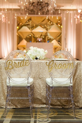 sparkling gold bride groom signage chairs wedding reception calligraphy classic washington dc