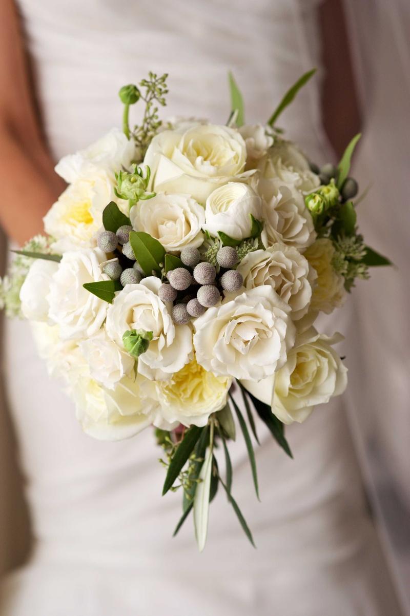 White Garden Rose Bouquet bouquets photos - white fall/winter bouquet - inside weddings