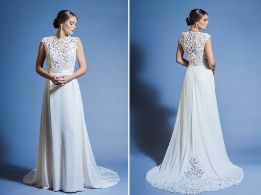 Jinza Couture Bridal 2016 traditional and elegant wedding dress with lace bodice, silk crepe skirt