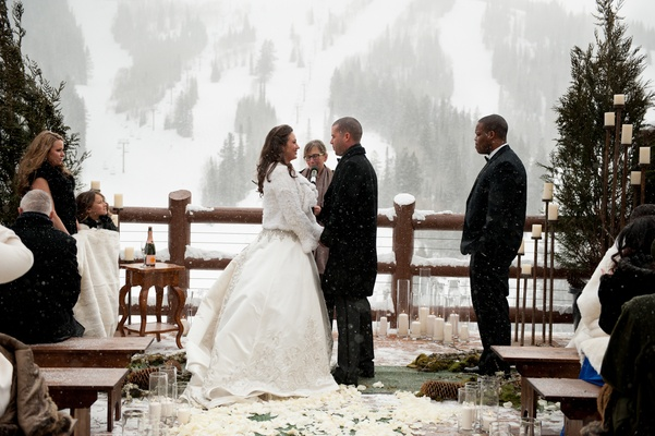 Snowy Outdoor Winter Ceremony & Cozy Lodge Reception   Inside Weddings