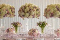 Wedding reception inspiration shoot purple tulips tall white hydrangea rose centerpiece white drapes