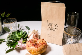 donut maple and bacon with kraft paper love is sweet to go take home bag succulent pink flower favor