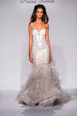 Pnina Tornai for Kleinfeld 2016 crystal mermaid wedding dress with ruffle skirt and crystal straps