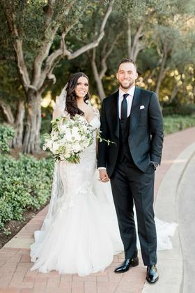 Charlise castro in galia lahav wedding dress groom in custom suit george springer iii houston astros