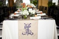 Long table with blue monogram on linens