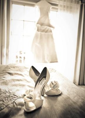 Black and white photo bridal Badgley Mischka shoes