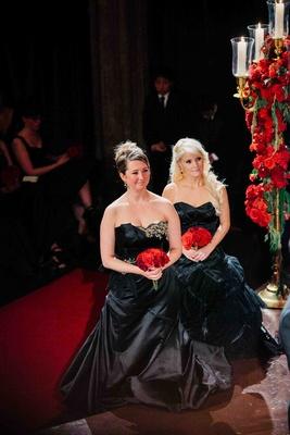 Bridesmaids wear black Matthew Christopher designed gowns