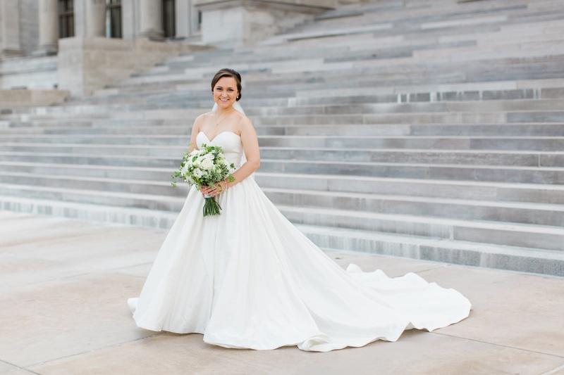 bride in justin alexander plain ball gown, sweetheart neckline